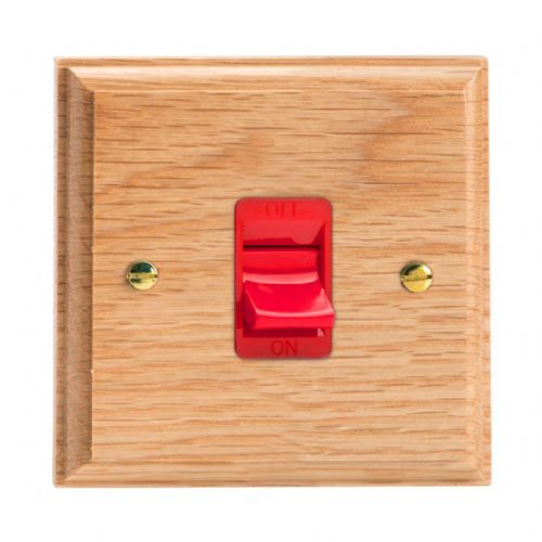 Varilight XK45SOB Kilnwood Oak 45A DP Cooker Switch Single Plate
